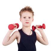 çocuk dumbbells ile eğitim — Stok fotoğraf