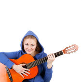 Girl and guitar — Stock Photo
