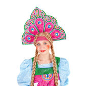 девушка в кокошник — Стоковое фото