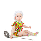 Little baby in the cook cap — Stock Photo