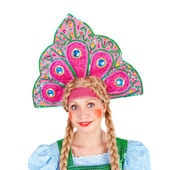 Girl in the kokoshnik — Stock Photo