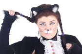 Actress in the costume of the cat — Stock Photo