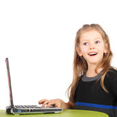 Girl playing with the computer — Stock Photo