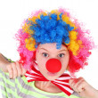 Cute teen girl dressed as a clown — Stock Photo