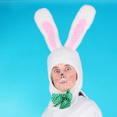 Man in the costume of hare — Stock Photo
