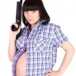 Pregnant woman with the pistol — Stock Photo