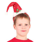 Boy in Christmas cap — Foto Stock