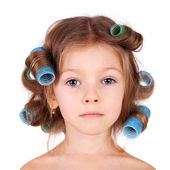 Girl wearing the curler — Photo