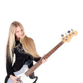 Girl with the electric guitar — Stock Photo