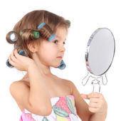 Girl in the curlers — Foto Stock