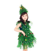 Newyear tree girl — Stock Photo