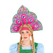 Girl in the kokoshnik — Stok fotoğraf