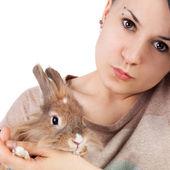 Teen and rabbit — Stock Photo