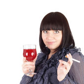 Woman with the wine and cigarette — Stock Photo