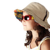 Girl in the sunglasses and panama — Stock Photo