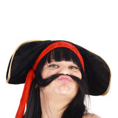 Woman in the pirate hat — Stock Photo