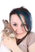 Girl with the rabbit — Stock Photo