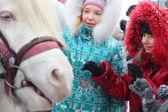 Kids and pony — Stock Photo