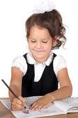 Girl drawing something — Stock Photo