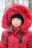 Winter girl outdoors — Stock Photo