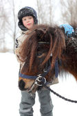 Barn- och häst — Stockfoto