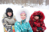 Winter children — Stok fotoğraf