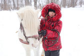 Child and horse — Foto Stock