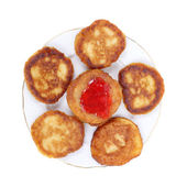 Pancakes with the currant jam — Zdjęcie stockowe