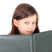 Little girl with big green album — Stock Photo