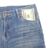 Money and jeans — Stock Photo