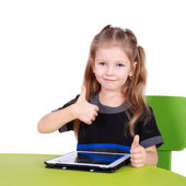 Irl using tablet PC with the thumbs up — Foto Stock