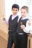 Cute little boys in the school — Stock Photo