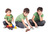 Three boys with toy cars — Stock Photo