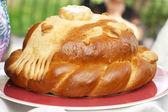 Wedding round loaf — Stock Photo