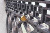 Wedding padlock on a bridge — Stock Photo