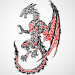 Fantasy Dragon Tattoo — Image vectorielle