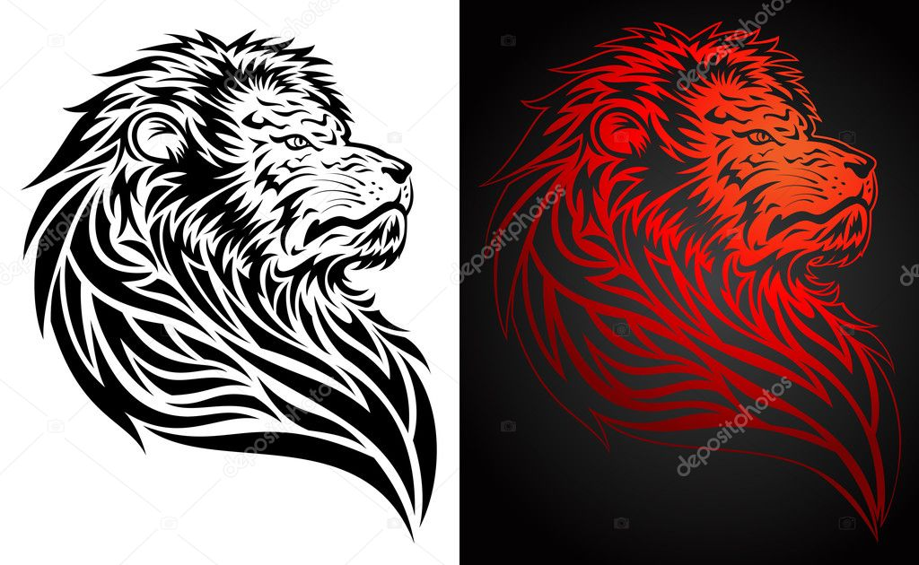 Lion head tribal tattoo, for emblem, decorative elements — Stock Vector #12716092