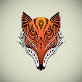 Tribal Fox Head — Stock Vector