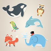 Animal Sticker Set — Stock Vector