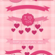Set of pink ribbons and labels — Stock Vector