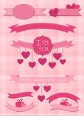 Conjunto de etiquetas y cintas de color rosa — Vector de stock