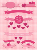 Set of pink ribbons and labels — Vector de stock