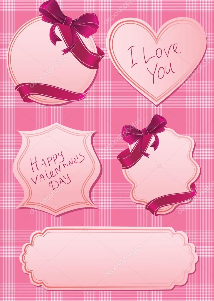 Set of pink labels, happy valentine's day — Stock Vector #18048127
