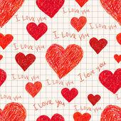 Seamless pattern of heart — Stock Vector