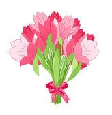 Beautiful bouquet of pink tulips — Stock Vector