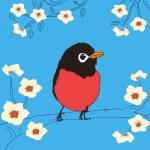 oiseau assis sur une branche — Vecteur