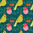 Seamless bird theme pattern — Stock Vector