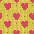 Knitted background with hearts — Stock Vector