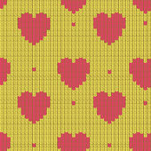 Knitted background with hearts — Vector de stock