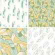 Four seamless patterns with feather — Stock Vector